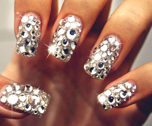 cute-nails-with-diamonds
